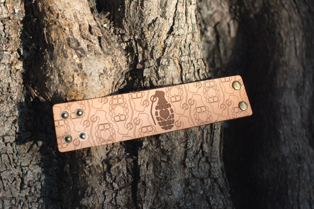 Engraved Leather Cuff